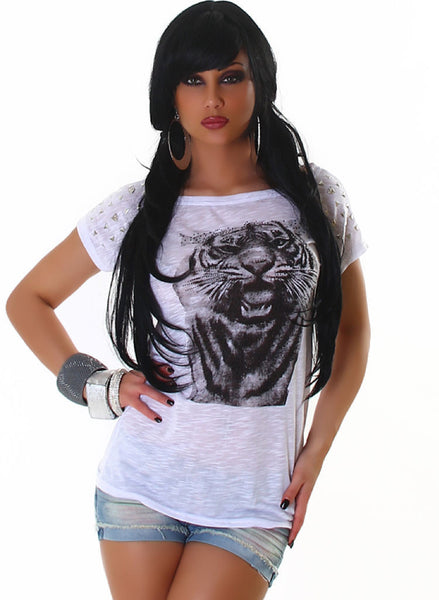 Loose Fit T-shirt top with Tiger Motif and decorations - Fits UK 10-14 -  Urban Direct Women's clothing