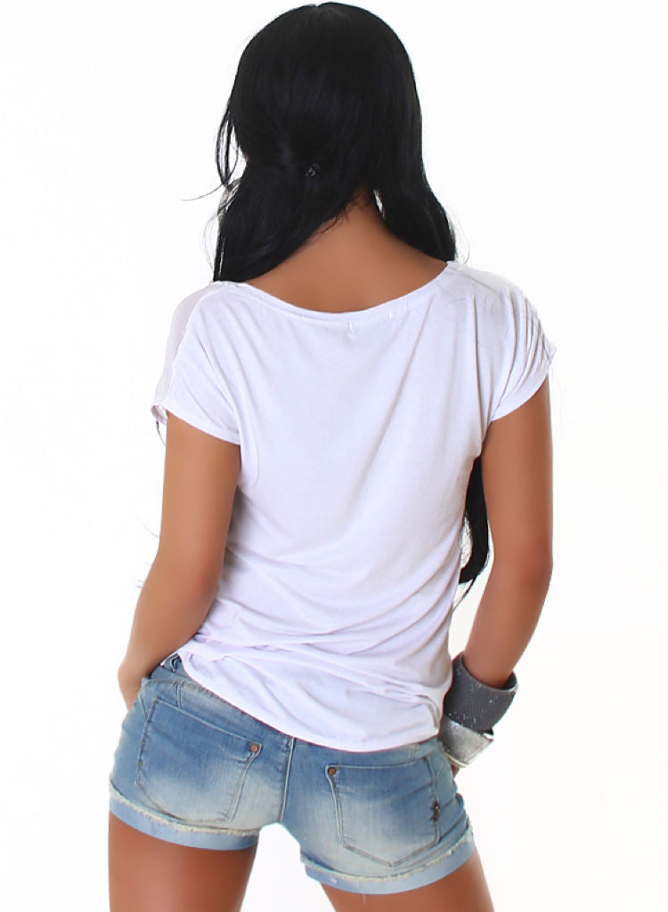 Loose Fit Tunic top t-shirt with jewel decorations. Fits UK 10-14 -  Urban Direct Women's clothing