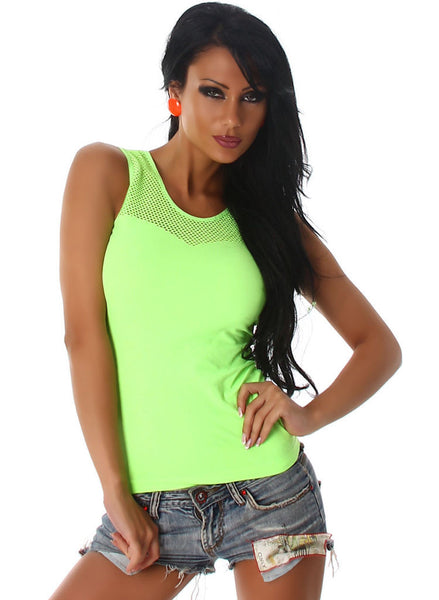 Casual Neon Green club wear Vest top T-shirt with lace back insert. Size fits UK 6 / 8 -  Urban Direct Women's clothing
