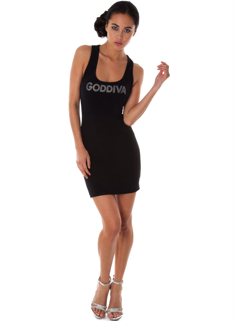 Black Stretchy Casual mini dress with silver gem Logo. -  Urban Direct Women's clothing