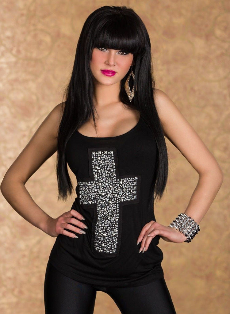 Silver Stud Gothic Cross Loose fit Vest Top / T shirt - 4 Colours. -  Urban Direct Women's clothing