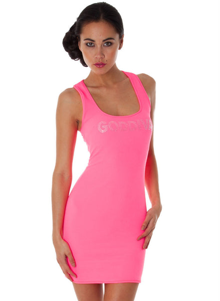 Neon Pink Stretchy Casual mini dress with silver gem Logo. -  Urban Direct Women's clothing