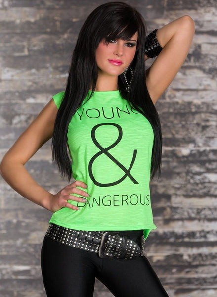 Young & Dangerous motif neon green t-shirt