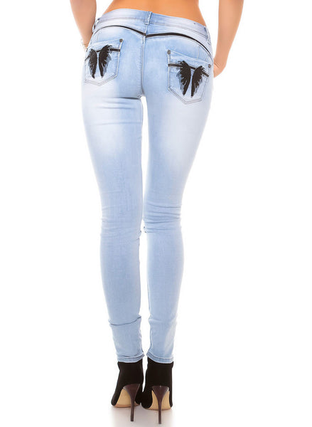 Women's sexy Blue skinny jeans with embroidered angel wings design -  Urban Direct Women's clothing