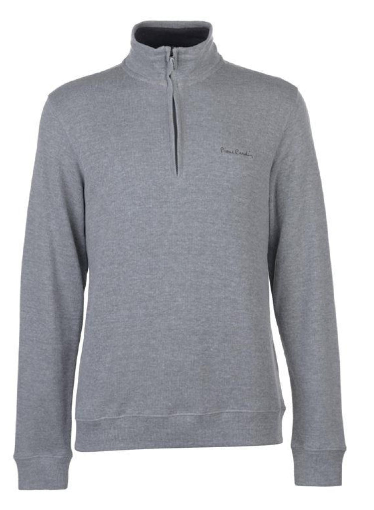 Mens PIERRE CARDIN Quarter Zip Long Sleeved Funnel neck Grey Jumper.