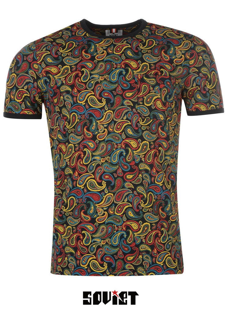 Mens Stylish SOVIET designer Paisley cotton crew neck T-shirt