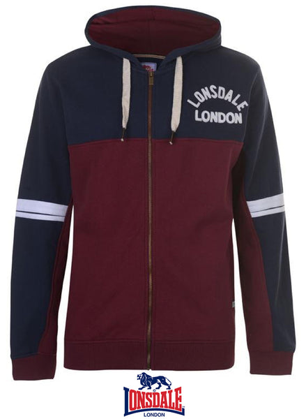 Mens Stylish LONSDALE LONDON long-sleeved Full Zip Hoody top