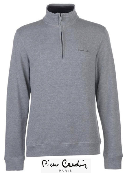Mens Quarter Zip Long Sleeved Funnel neck Grey Jumper.