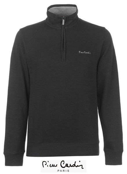Mens Quarter Zip Long Sleeved Funnel neck black Jumper.