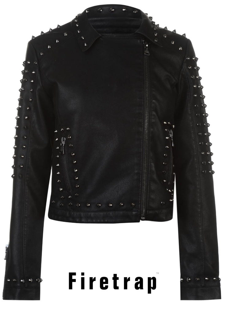 Women's Girls FIRETRAP BlackSeal Studded Goth Punk Biker Jacket