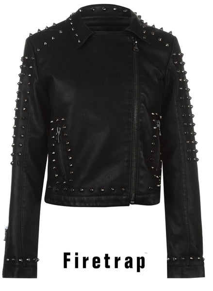 Women's Girls BlackSeal Studded Goth Punk Biker Jacket
