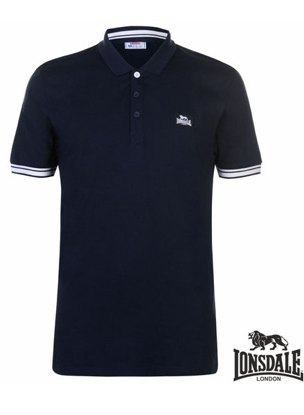 Mens Navy Blue LONSDALE casual sports Polo shirt