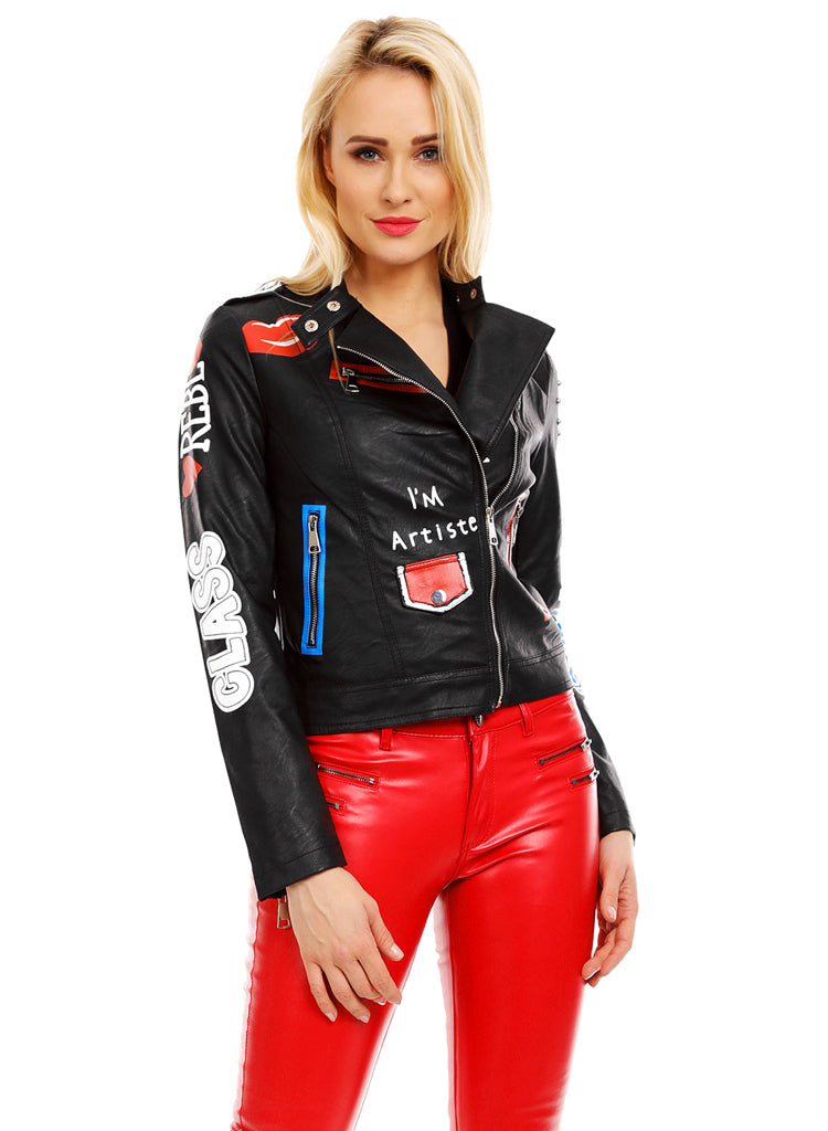 Women's Stylish Limited Edition Leather look Biker Punk style jacket UK 10.12