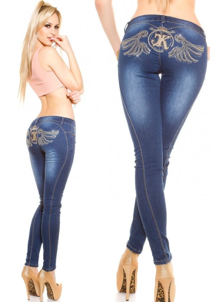 Women's Stylish Rhinestone embroidered dark blue Skinny jeans.