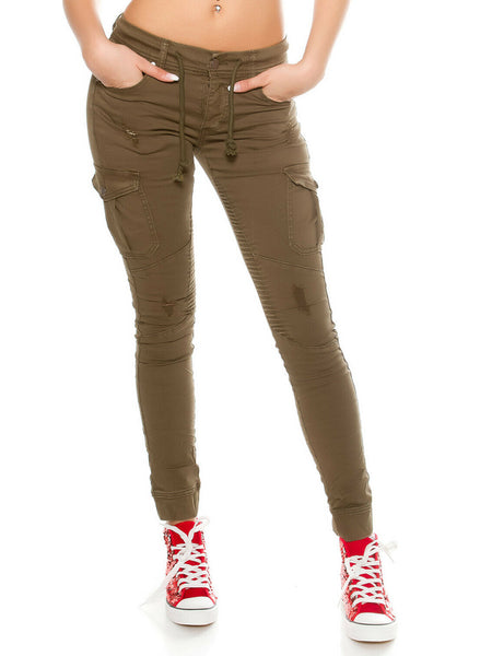Women's Girls Military style casual distressed cargo trouser jeans