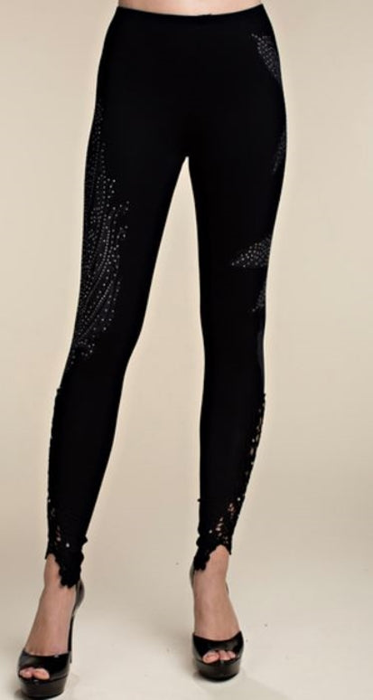 Vocal Soft Crochet Leaf Print Rhinestone Leggings - Black