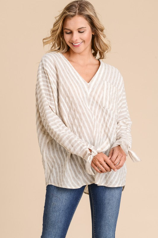Doe & Rae Philadelphia Girl Stripe Blouse - Khaki