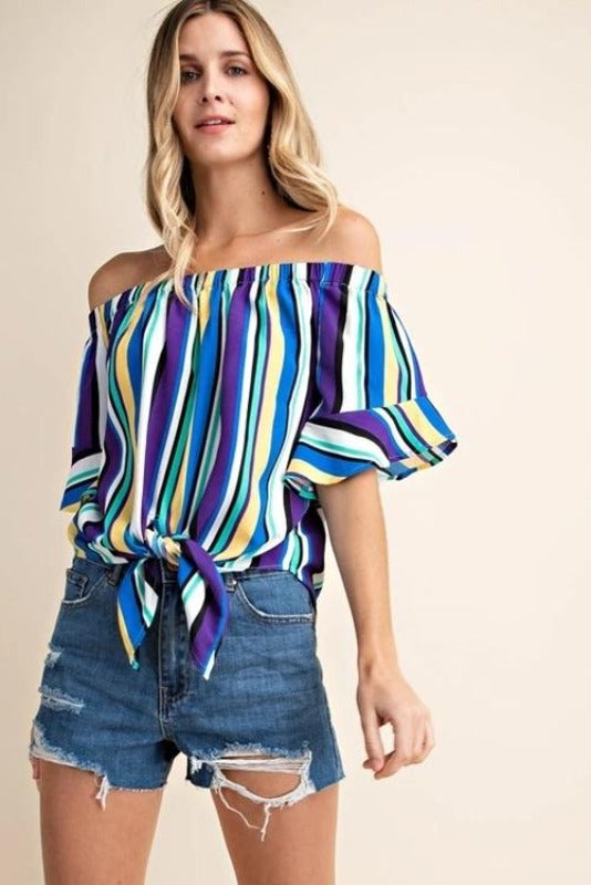 Kori Stripe Knot Tie Crop Blouse - Purple Blue