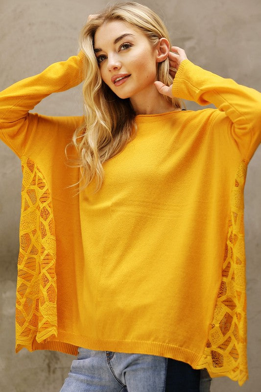 Side Lace Soft Sweater Top - Mustard