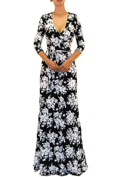 Tropical White Black Floral Maxi Cleavage Dress