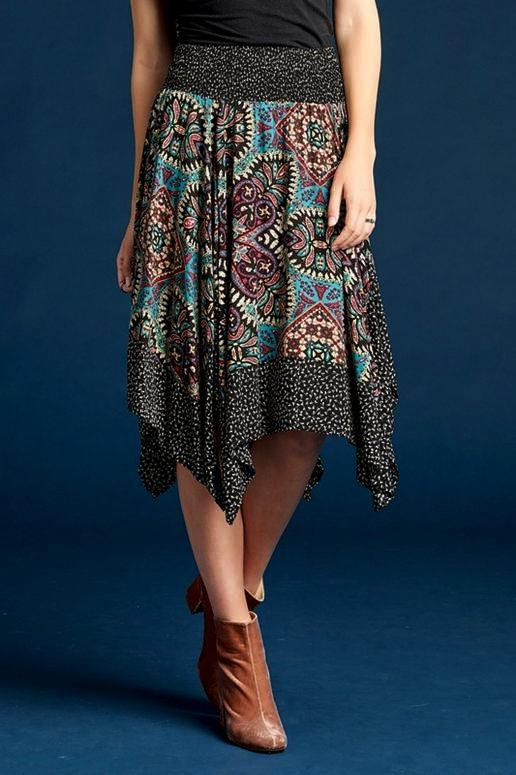 Oddi Handkerchief Hem Skirt - Black Teal