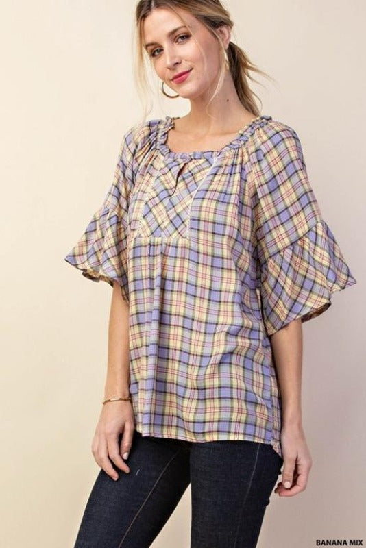 Kori Plaid Ruffle Sleeve Blouse - Banana Mix