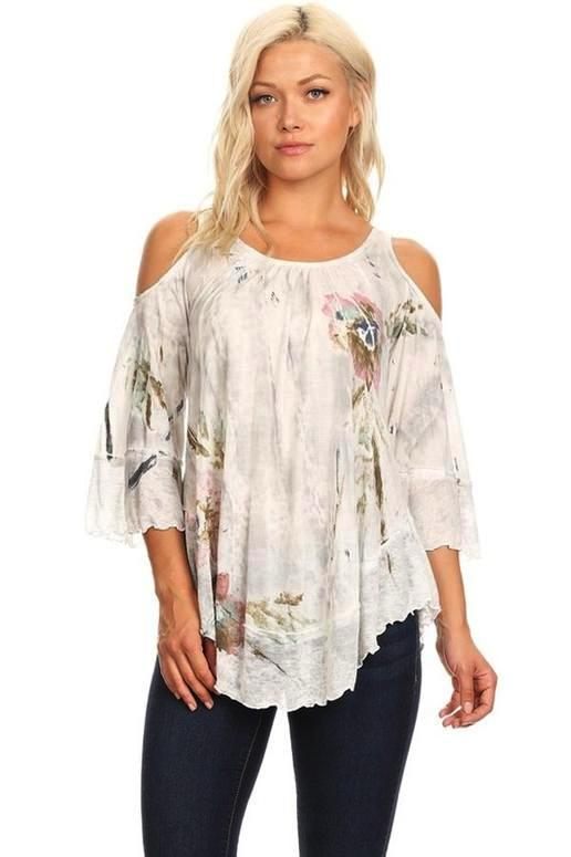 T Party Floral Art Dye Cold Shoulder Top - Light Gray