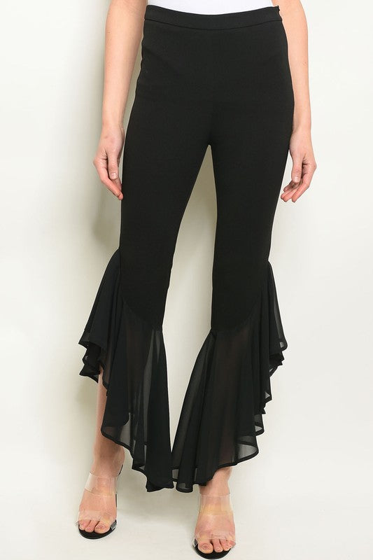 Chiquita Sheer Ruffle Hem Pants - Black