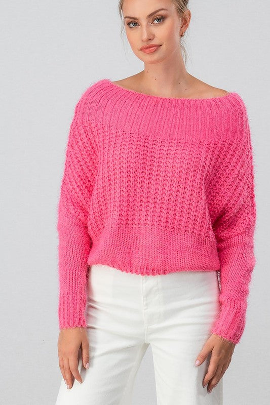Fuzzy Shoulders Crop Top - Hot Pink