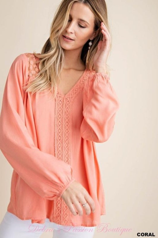 Kori Lace Yoke Blouse - Coral or Melon