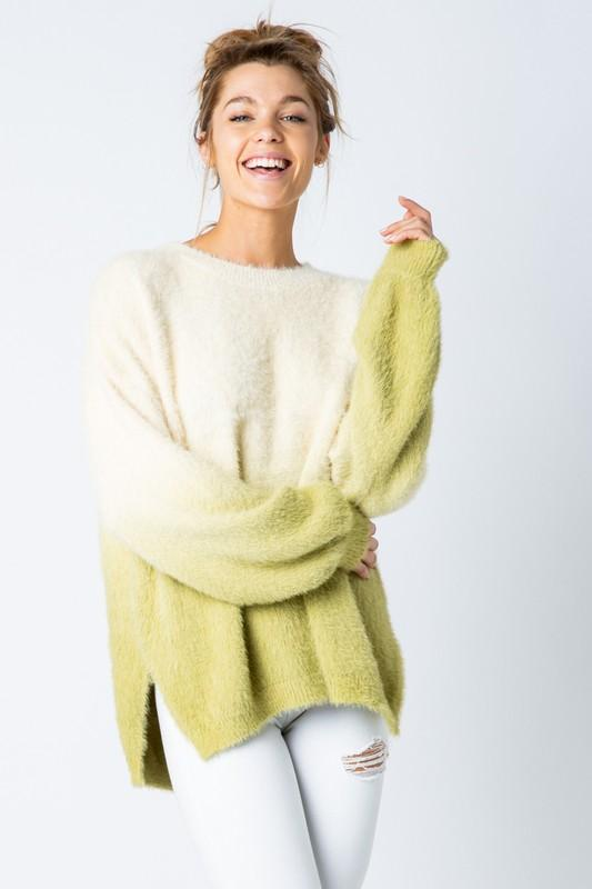 Dip Dye Wide Furry Pullover - Soft Custard/Green Dip