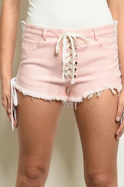 Deone Lace Up Distressed Shorts - Pink/White