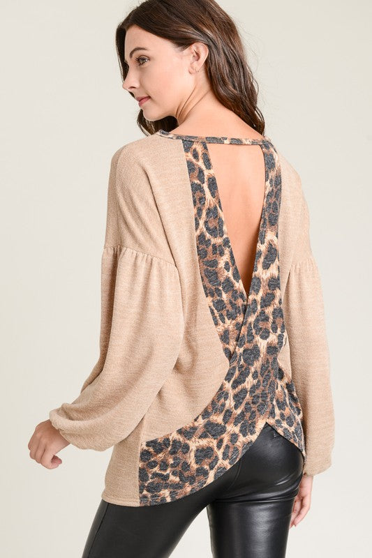 Leopard Crossover Cut Out Back Knit Top - Taupe