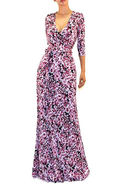 Simone Pink Black Floral Maxi Cleavage Dress