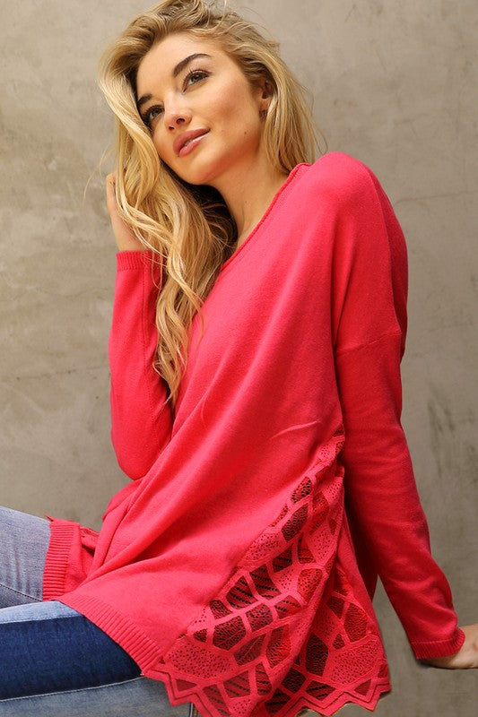 Side Lace Soft Sweater Top - Watermelon
