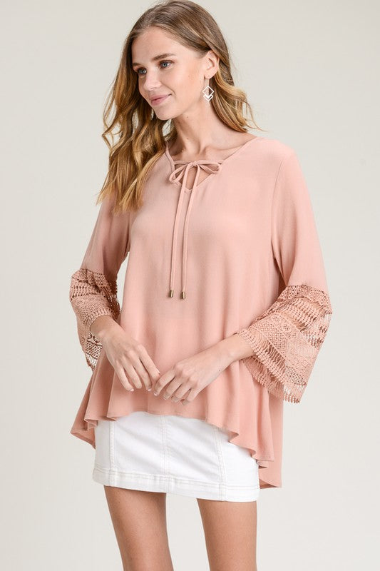 Doe & Rae Crochet Bell Sleeve Blouse