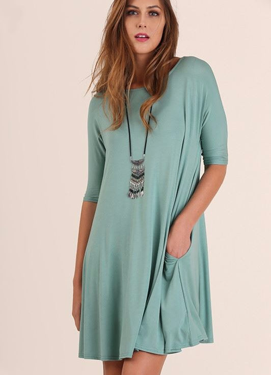 Umgee Pocket Swing Tunic Dress - Dusty Mint