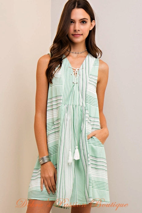Entro Lace Up Stripes BabyDoll Dress - Orange or Apple Green