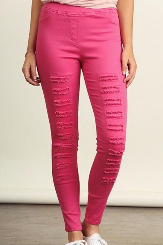 Umgee Distressed Leggings Jeggings - Fuchsia Pink