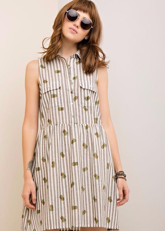 Cotton Stripe Pineapples Cutie Dress - Brown