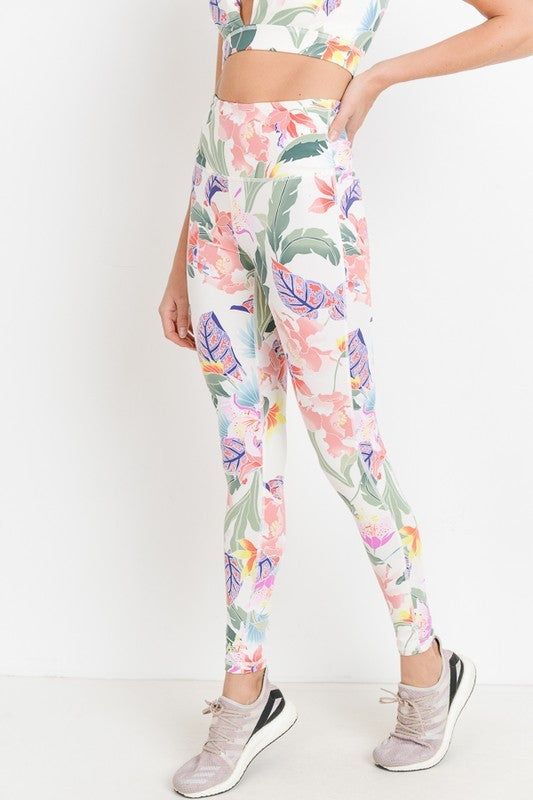 Tropical Print Activewear Leggings - Ivory