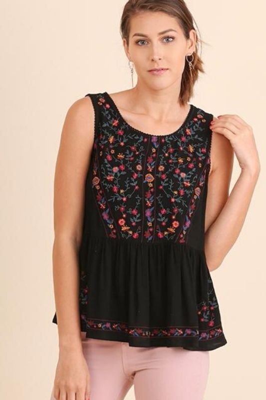 Cute Crop Embroidery Blouse - Umgee - Black