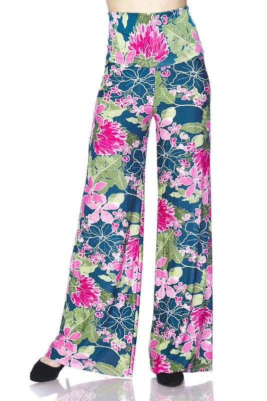 Bright Flower Palazzo Pants - Teal