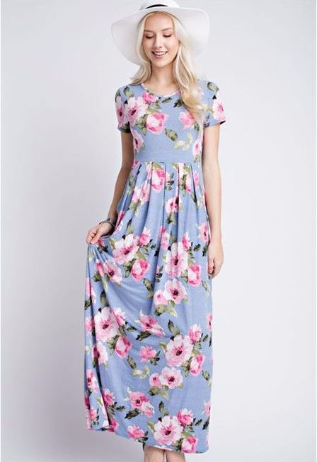 12PM by Mon Ami Floral Sun Dress - Blue