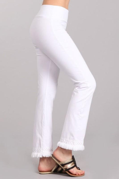 Chatoyant Ankle Fringe Hem Pants - White