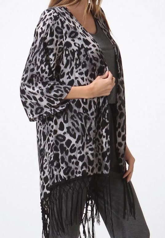 Casual Kitten Cheetah Fringe Kimono Cardigan - Animal Print
