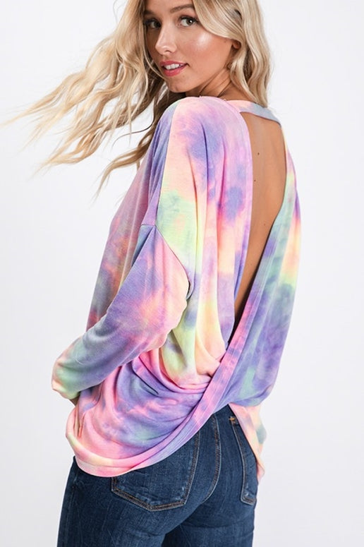 Rainbow Open Twist Back Top - Purple Multi
