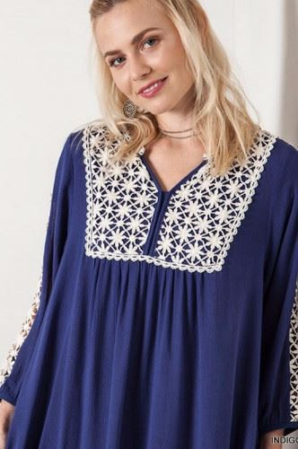 Solid Shift Dress- Lace Accent -Kori- Indigo