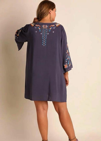 Umgee Embroidered Plus Dress Slate Debra S Passion Boutique