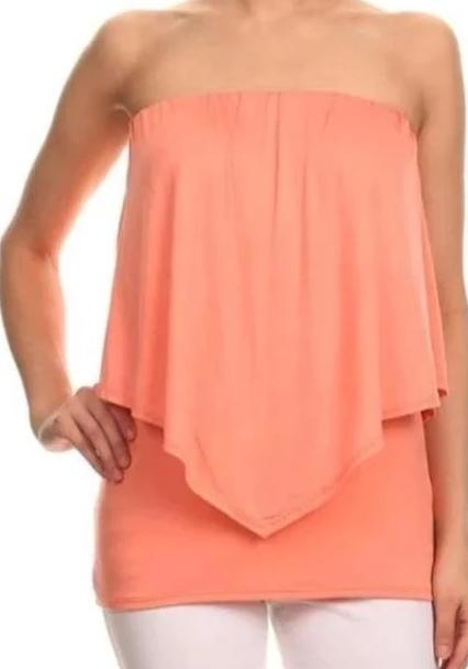 Tube Top Layer Neckline Chatoyant - Apricot